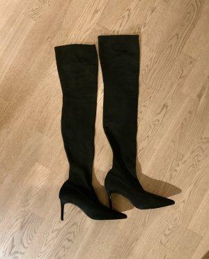 ❤️ MANGO Overknees 36 Schwarz Sock Boots Stiefel ❤️