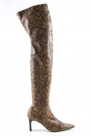 Mango Kniehoge laarzen bruin dierenprint extravagante stijl