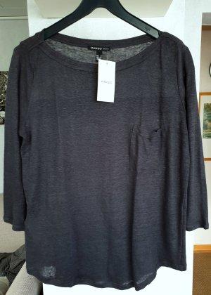 Mango Basics Oversized shirt antraciet Linnen