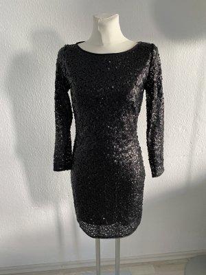 Mango Pailletten Kleid Abendkleid Hochzeit 36 /S schwarz sexy Rücken