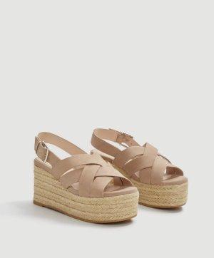 Mango Plateau Sandalen aus Leder | beige | Gr. 40