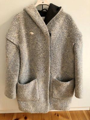 Mango Premium Manteau à capuche multicolore laine vierge