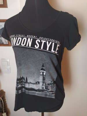 MANGO Print Shirt T-Shirt im Vintagelook, schwarz, S/36