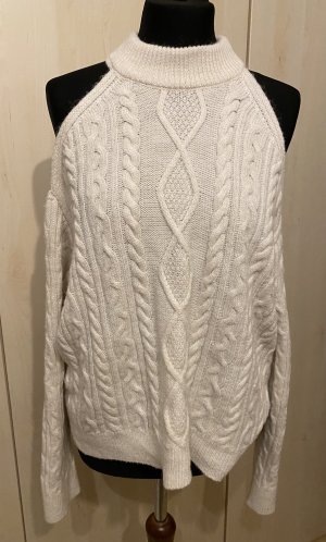 Mango Pullover cut-outs schulterfrei Strickpullover creme