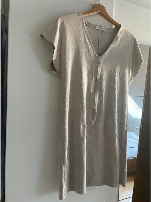 Mango Rauhleder Optik Kleid in hellgrau