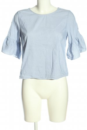 Mango Ruche blouse blauw-wit gestreept patroon casual uitstraling