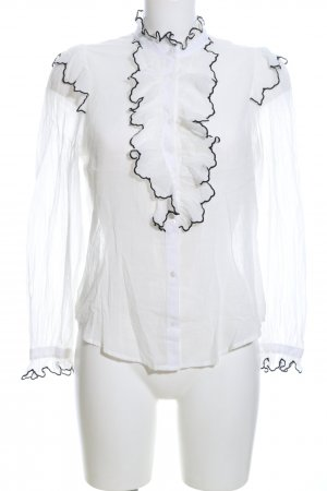 Mango Blouse à volants blanc style d'affaires