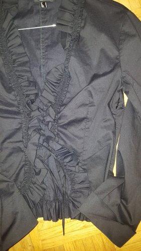 Mango Rüschen Bluse geschnürt schwarz Gr.36 (M)