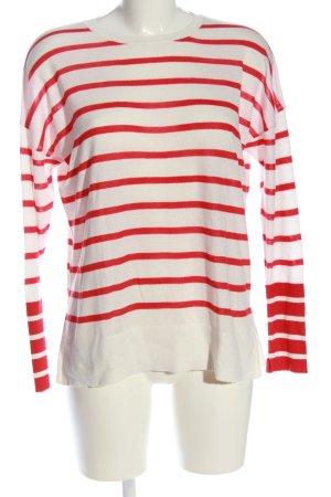 Mango Rundhalspullover weiß-rot Streifenmuster Casual-Look