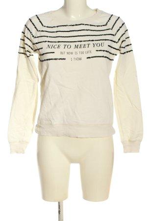 Mango Sweatshirt creme-schwarz Schriftzug gedruckt Casual-Look