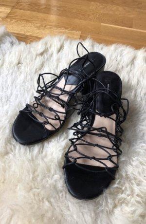 Mango Sandale Sandaletten schwarz schnürung lace 40 blogger