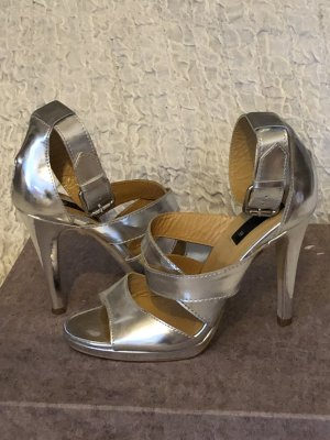 Mango Strapped High-Heeled Sandals silver-colored