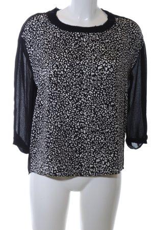 Mango Schlupf-Bluse schwarz-weiß abstraktes Muster Casual-Look