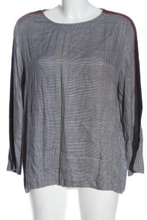 Mango Schlupf-Bluse weiß-schwarz Allover-Druck Casual-Look
