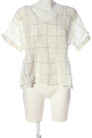 Mango Blouse à enfiler blanc-gris clair motif à carreaux style d'affaires