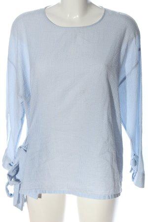 Mango Schlupf-Bluse weiß-blau Allover-Druck Casual-Look