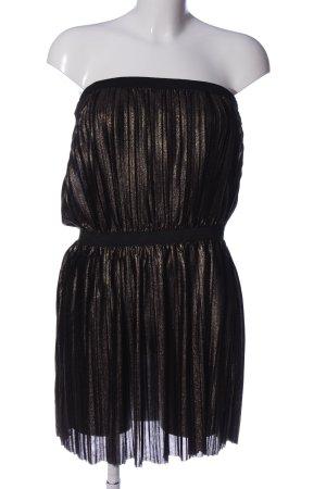 Mango schulterfreies Kleid schwarz-goldfarben Elegant