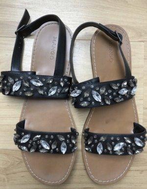 MANGO | schwarze Sandalen mit Strassverzierungen | Gr. 40