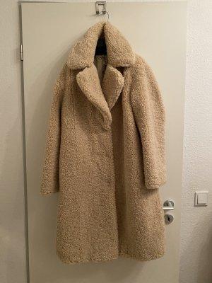Mango Fake Fur Coat beige
