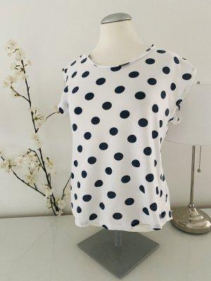 Mango T-shirt bianco-blu scuro