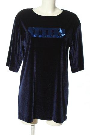 Mango Shirtkleid blau Motivdruck Casual-Look