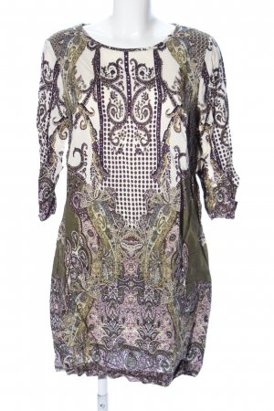 Mango Shirtkleid wollweiß-khaki abstraktes Muster Elegant