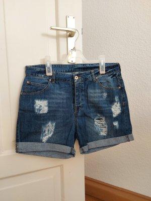 Mango Short en jean bleu-blanc coton