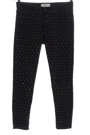 Mango Skinny Jeans schwarz Glitzer-Optik