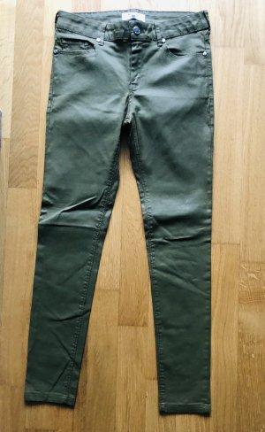 Mango Skinny Jeans 36 oliv Leder Optik