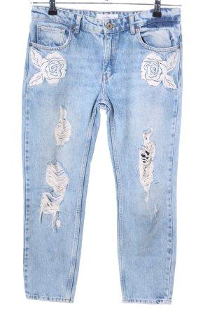 Mango Slim Jeans blau-weiß Casual-Look