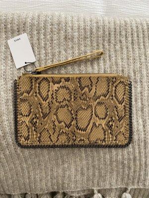 Mango Snake Clutch Tasche Zara Gelb Animal Leo Top Bag