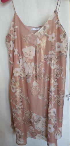 Mango Sommer Mini Cocktail Party Kleid Blumen Muster Rose Weiß Gold Schimmer