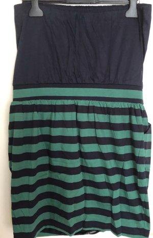 Mango Sukienka z dekoltem typu bandeau ciemnoniebieski-zielony