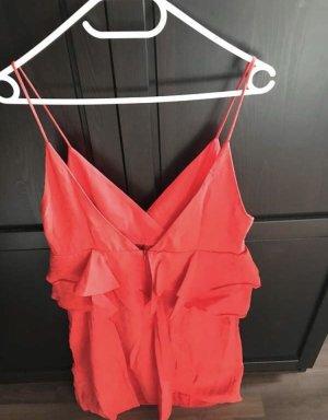 Mango Vestido peplum rojo claro