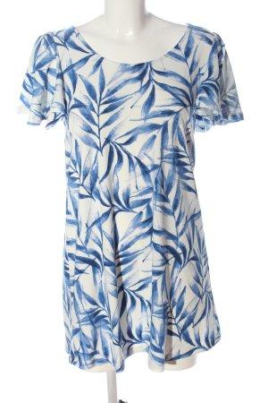 Mango Sommerkleid weiß-blau Allover-Druck Casual-Look