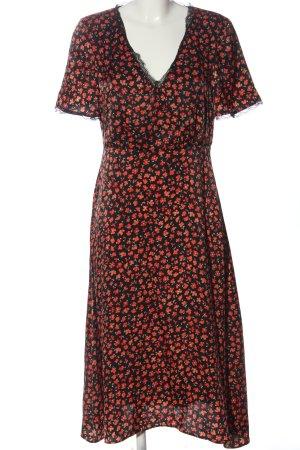 Mango Sommerkleid schwarz-rot Allover-Druck Elegant