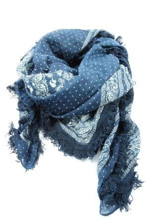 Mango Sommerschal blau-weiß grafisches Muster Casual-Look