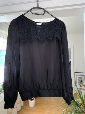 Mango Kanten blouse zwart-goud