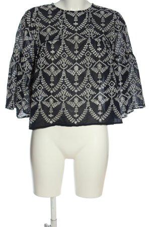 Mango Kanten blouse zwart-wit volledige print casual uitstraling