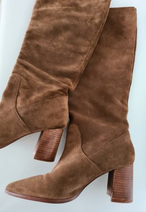 MANGO Stiefel, Slouch-Boots, hellbraun, Rauleder, Block-Absatz, spitze Form