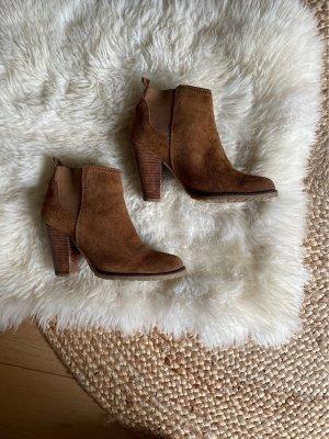 Mango Peep Toe Booties cognac-coloured-brown leather