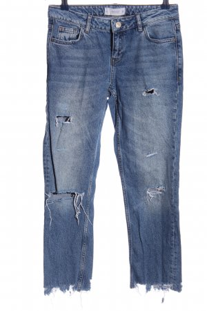 Mango Straight-Leg Jeans blau Street-Fashion-Look