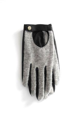 MANGO Strick Kunstleder Handschuhe grau schwarz