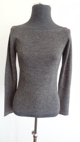 Mango Strick-Pullover mit U-Boot-Ausschnitt grau, Gr. S