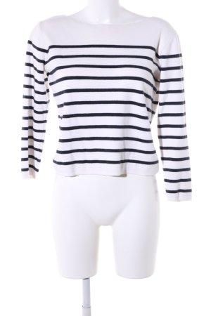 Mango Strickpullover weiß-schwarz Streifenmuster Casual-Look