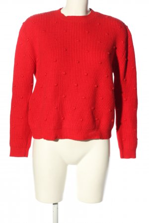 Mango Strickpullover rot Zopfmuster Casual-Look