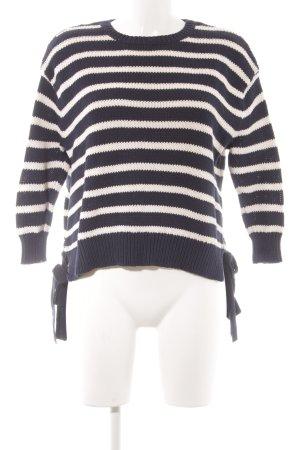 Mango Strickpullover weiß-dunkelblau Streifenmuster Casual-Look