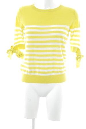 Mango Strickpullover weiß-limettengelb Streifenmuster Casual-Look