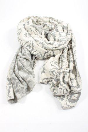 Mango Bufanda de punto blanco-gris claro estampado con diseño abstracto