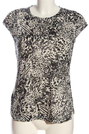 Mango Strickshirt weiß-schwarz abstraktes Muster Casual-Look